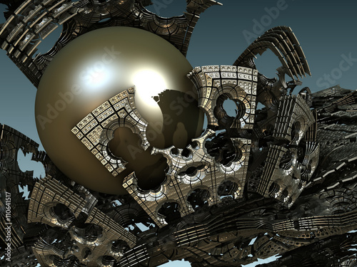 Plakat abstract geometric composition made in 3d software