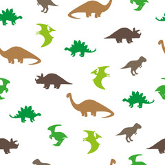 Dinosaurs seamless pattern. Silhouettes of dinosaurs isolated on white background. Vector wallpaper.