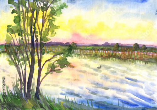 Landscape, watercolor painting. Tree on the shore, a duck swims, sunset over the horizon
