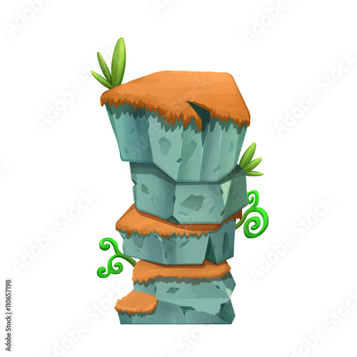 Creative Illustration and Innovative Art: Video Game Monster Creature Character Design: Grass Mountain Rock isolated on White Background. Realistic Fantastic Cartoon Style Character Story Card Design - 110657198