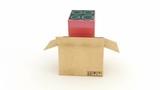 electric stove in cardboard box. 3D rendering