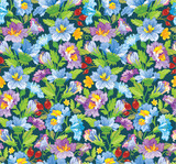 Vector illustration. Seamless flower pattern in blue and purple shades