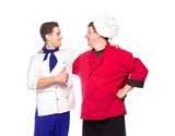 Team of two men, chefs, cooks