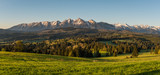 Morning panorama of Tatra Mountains in spring, Poland