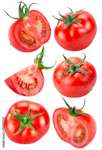 Poster collection of tomatoes isolated on the white background