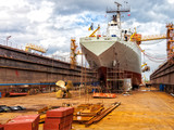 Big ship - rear view with propeller under repair. - 110689560