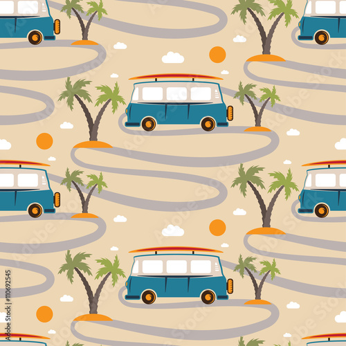Cotton fabric Seamless pattern of retro Bus with surfboard in beach with palms