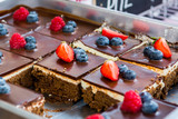 Tasty chocolate pastry with fresh berries.