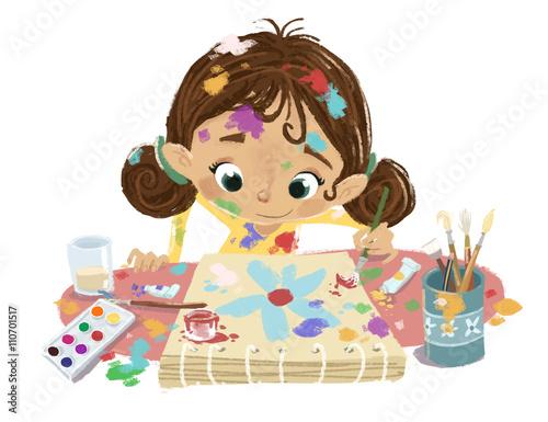 niña pintando con colores