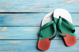 Thongs with flag of Bulgaria, on blue wooden boards