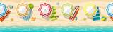 Seamless beach resort panorama with colorful beach umbrellas - 110711783