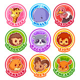 Set of round stickers with cute animals.