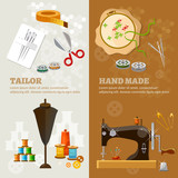 Tailor banners tailoring tools seamstress fashion designer