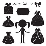 Princess dress silhouettes set. Cartoon black and white wearable items.