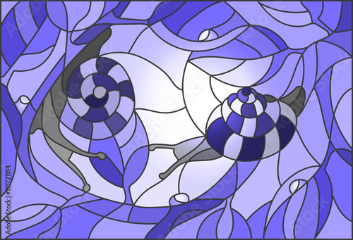 Naklejka Stained glass illustration of a snail on a branch against the sky and the sun in blue tones