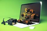 Virtual reality glasses laptop green