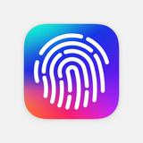 ID App icon template. Fingerprint vector illustration. Mobile application icon. Vector colorful id icon