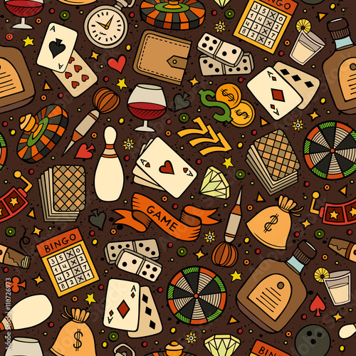 Poster Cartoon hand-drawn casino, games seamless pattern