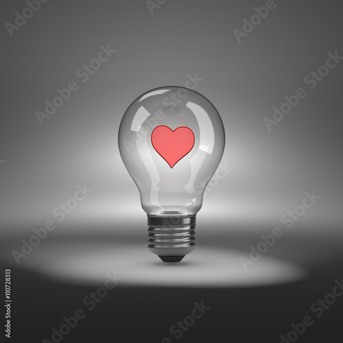 Zdjęcia na płótnie, fototapety, obrazy : Light Bulb with Heart Shape Inside