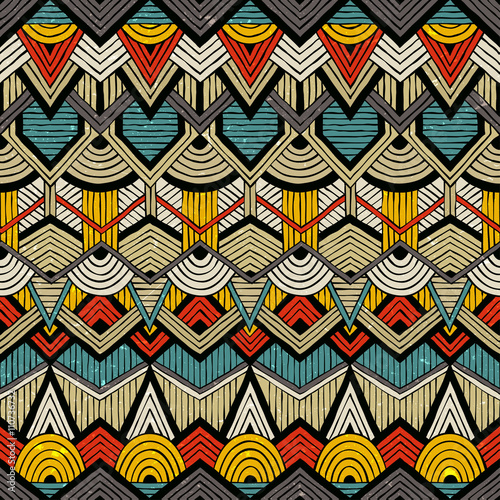 Cotton fabric Colorful vector pattern in tribal style. Seamless hand-drawn background with grunge texture. EPS10.