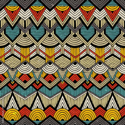 Materiał do szycia Kolorowe wektor wzór w stylu tribal. Bezszwowe tło ręcznie rysowane z grunge tekstur. EPS10.