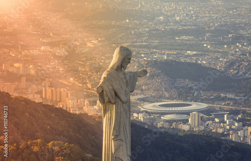 Aerial view of Christ The Reedemer Statue looking at Maracana Stadium Poster