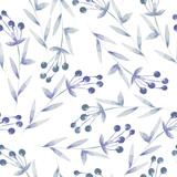 Seamless pattern with the blue berries, hand drawn in a watercolor on a white background, background for your card and work, hand drawn in a pastel