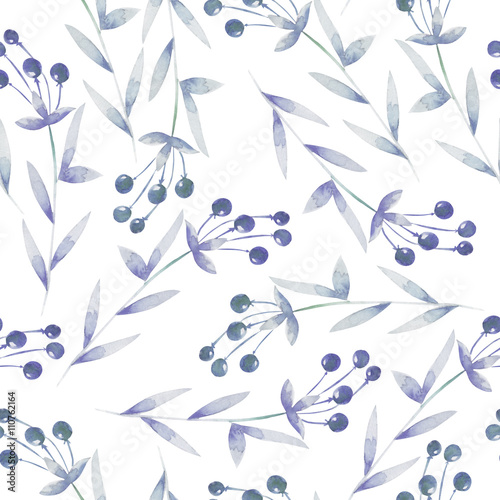 Seamless pattern with the blue berries, hand drawn in a watercolor on a white background, background for your card and work, hand drawn in a pastel - 110762164