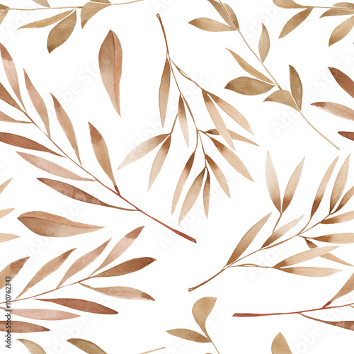 Seamless floral pattern with the watercolor brown leaves on the branches, hand drawn on a white background - 110762343