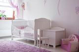 Fototapety White and rose baby room