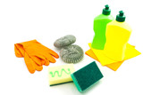 sponges, gloves and bottles
