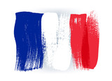 France colorful brush strokes painted flag. - 110766791