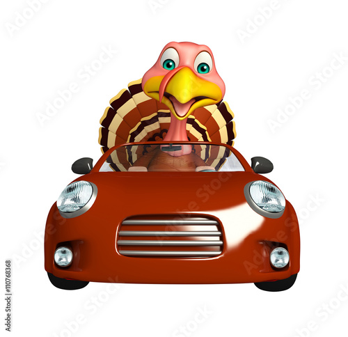 Turkey Cartoon Character With Car