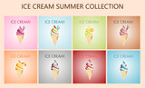 Vectores de ricos cucuruchos de helado refrescantes para el verano
