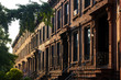 a row of brownstone apartments
