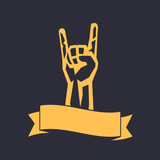 rock sign, hand-horn, rock-concert gesture isolated on dark, vector illustration