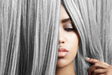 Fototapety woman with pretty lips and grey hair