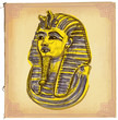 Tutankhamun - An hand drawn vector sketch, freehand, colored lin