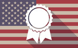 Long shadow USA flag icon with   a ribbon award