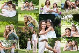 Composite image of mothers embracing their daughters