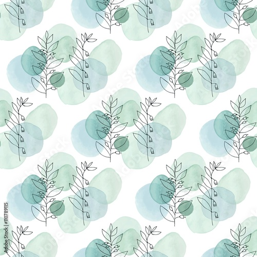 Watercolor texture. Seamless pattern. Watercolor circles in pastel colors with handdrawn flowers, branches, floral elements on white background. Delicate mint and blue colors and romantic design. - 110789115