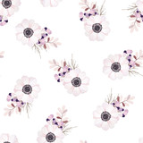 Vector seamless pattern with flower bouquet. Anemone, branches and berries. - 110795901