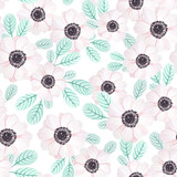 Seamless pattern with anemones and leaves in vintage watercolor style, vector illustration. Nature seamless pattern - 110795997