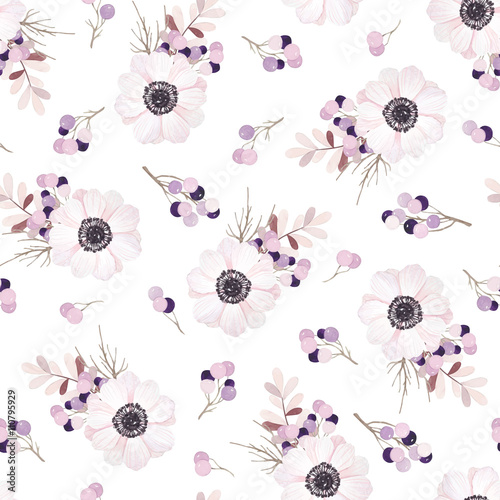 Vector seamless pattern with flower bouquet. Anemone, branches and berries. - 110795929
