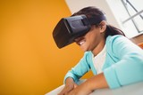 Girl using a virtual reality device