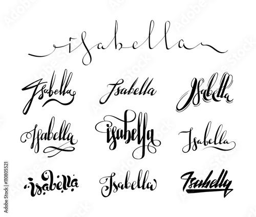 Personal Name Isabella Vector Handwritten Calligraphy Set Handmade