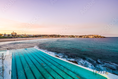 Poster View of Bondi Beach in Sydney from Bondi Icebergs Pool.