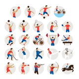 Sports Athletes, Men Icons Set, Athletics, Games, Sportsman, Symbol