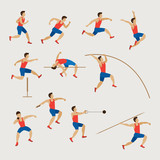 Sports Athletes, Track and Field, Men Set, Athletics, Games, Action, Exercise