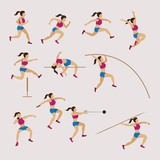 Sports Athletes, Track and Field, Women Set, Athletics, Games, Action, Exercise